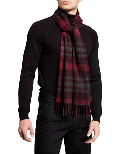 Men's Exploded Plaid Cashmere Scarf