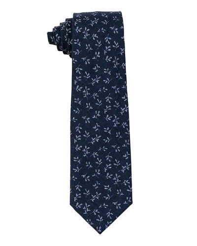 Printed Leaves Wool Tie