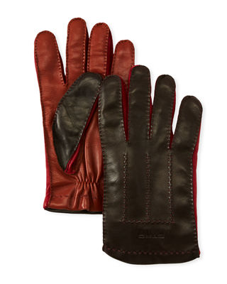 Men'S Colorblock Leather Gloves, Brown Pattern