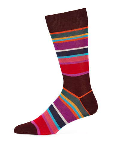 Men's Hagen Striped Cotton-Blend Socks