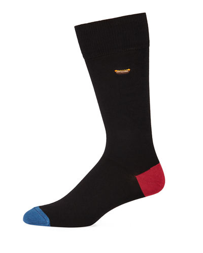 Men's Embroidered Food Cotton-Blend Socks