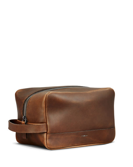Image 3 of 4: Shinola Men's Navigator Zip-Top Leather Travel Toiletry Case