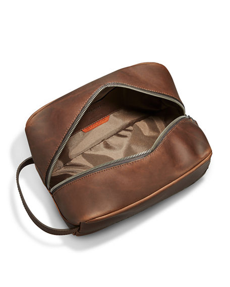 Image 4 of 4: Shinola Men's Navigator Zip-Top Leather Travel Toiletry Case