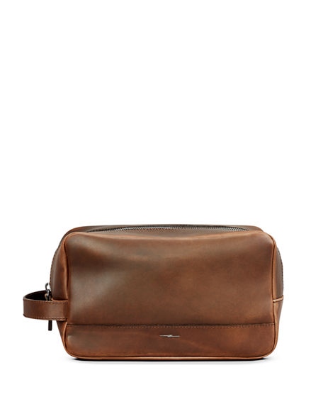 Image 1 of 4: Shinola Men's Navigator Zip-Top Leather Travel Toiletry Case