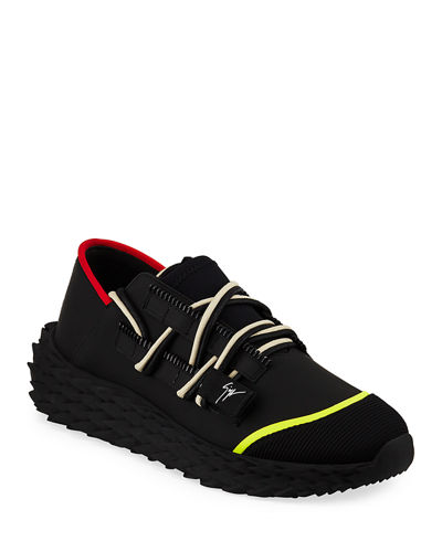 Giuseppe Zanotti Men's Neoprene Textured-Sole Running Dad Sneakers