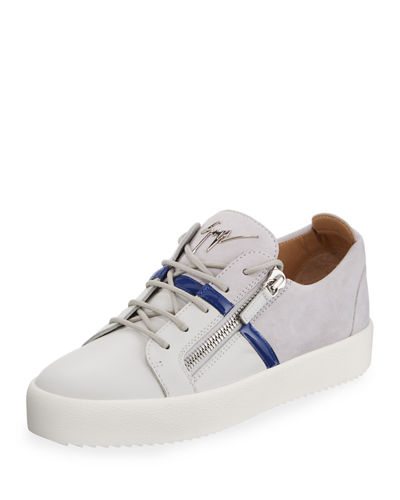 Men's Mixed-Media Double-Zip Low-Top Sneakers