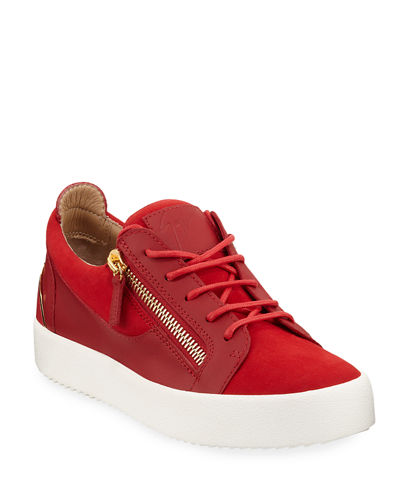 Men's Suede & Leather Low-Top Sneakers
