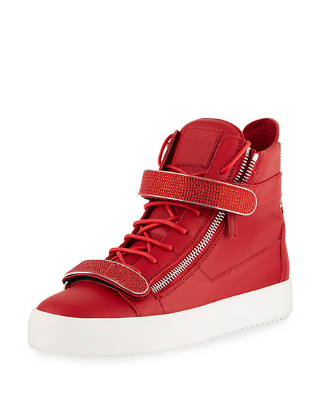 Image 1 of 4: Giuseppe Zanotti Men's Double Nailhead-Bar High-Top Leather Sneakers