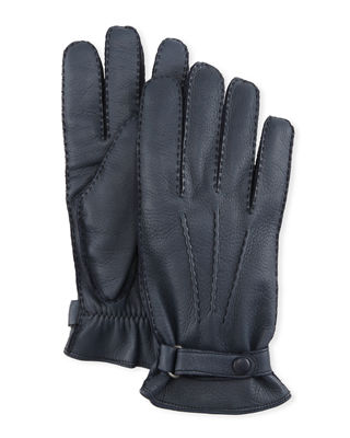 HESTRA GLOVES Men'S Winston Snap Leather Cashmere-Lined Gloves in 280 Midnight