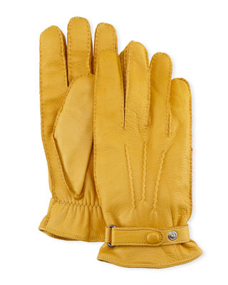 HESTRA GLOVES Men'S Winston Snap Leather Cashmere-Lined Gloves in Yellow
