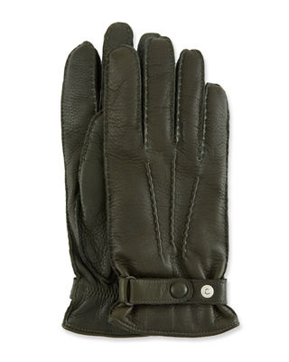 HESTRA GLOVES Men'S Winston Snap Leather Cashmere-Lined Gloves in Dark Green