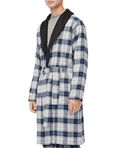 Men's Kalib Sherpa-Lined Plaid Robe