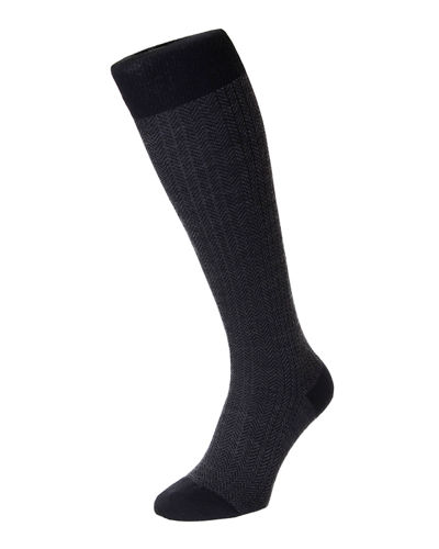 Men's Herringbone Wool Over-Calf Socks