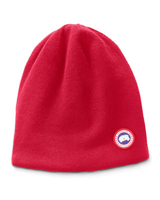 Men'S Standard Logo Toque Winter Beanie Hat in Red
