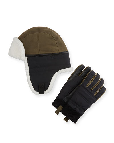 Men's Mixed Media Hat & Glove Gift Set