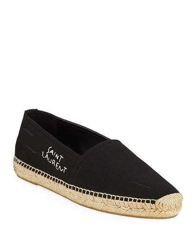 Men's Logo-Stitched Canvas Slip-On Espadrilles