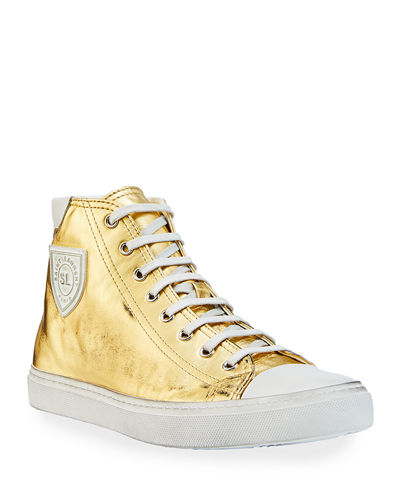 Men's Bedford Metallic Leather High-Top Sneakers