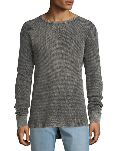 Men's Distressed Long-Sleeve Thermal Shirt