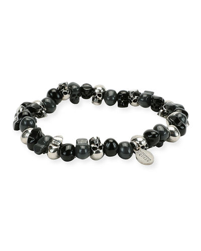 Men's Two-Tone Skull Bead Bracelet