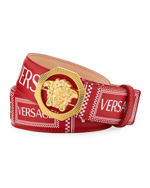 befd9273470bd Versace Men's Leather Medusa Logo Belt