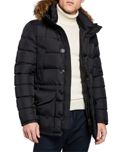 Men's Cluny Fur-Trim Puffer Coat