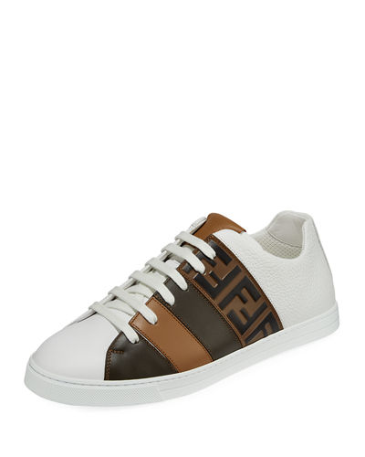 Men's Fendi Mania FF Leather Low-Top Sneakers