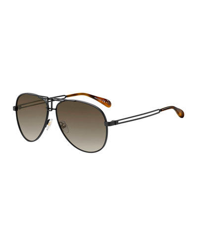 Men's Flap-Top Metal Aviator Sunglasses