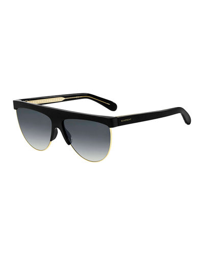 Men's Flat-Top Half-Rim Plastic Sunglasses