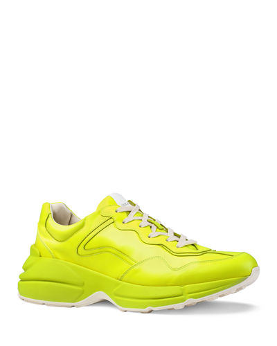 Men's Rhyton Fluorescent Leather Sneakers