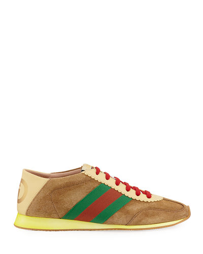 Gucci Men's Suede Fold-Down Sneakers With Web