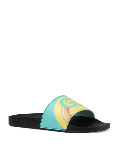 74570397a16 Quick Look. Gucci · Men s Interlocking G Rainbow Rubber Slide Sandals