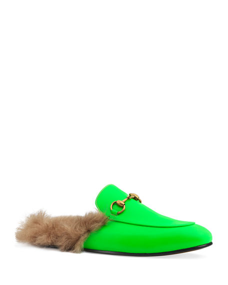 7547edaf179 Gucci Men s Princetown Fur-Lined Fluorescent Leather Slippers In Green