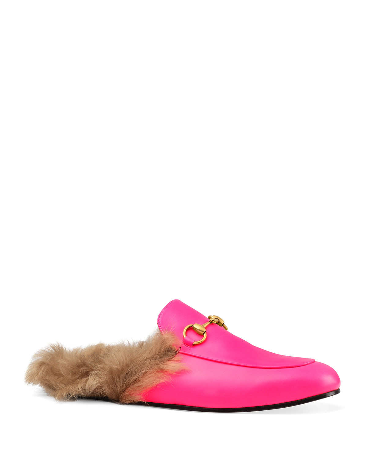 14d046a0eae Gucci Men s Princetown Fur-Lined Fluorescent Leather Slippers ...