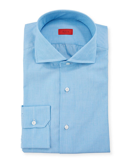 Image 1 of 3: Isaia Men's Solid 2-Ply Cotton Twill Dress Shirt