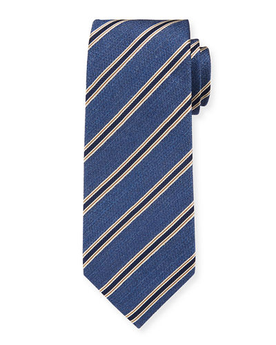 Men's Silk Textured with Stripes Tie