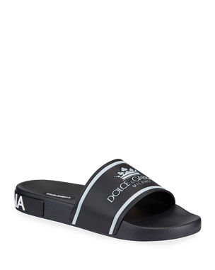 3a23f7fcbd3 Gucci Stripe Rubber Slide Sandal.  290 · Dolce   Gabbana Men s Crown Logo Slide  Sandals
