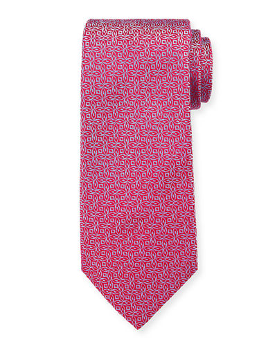 Men's Silk Interlocking Floral Tie