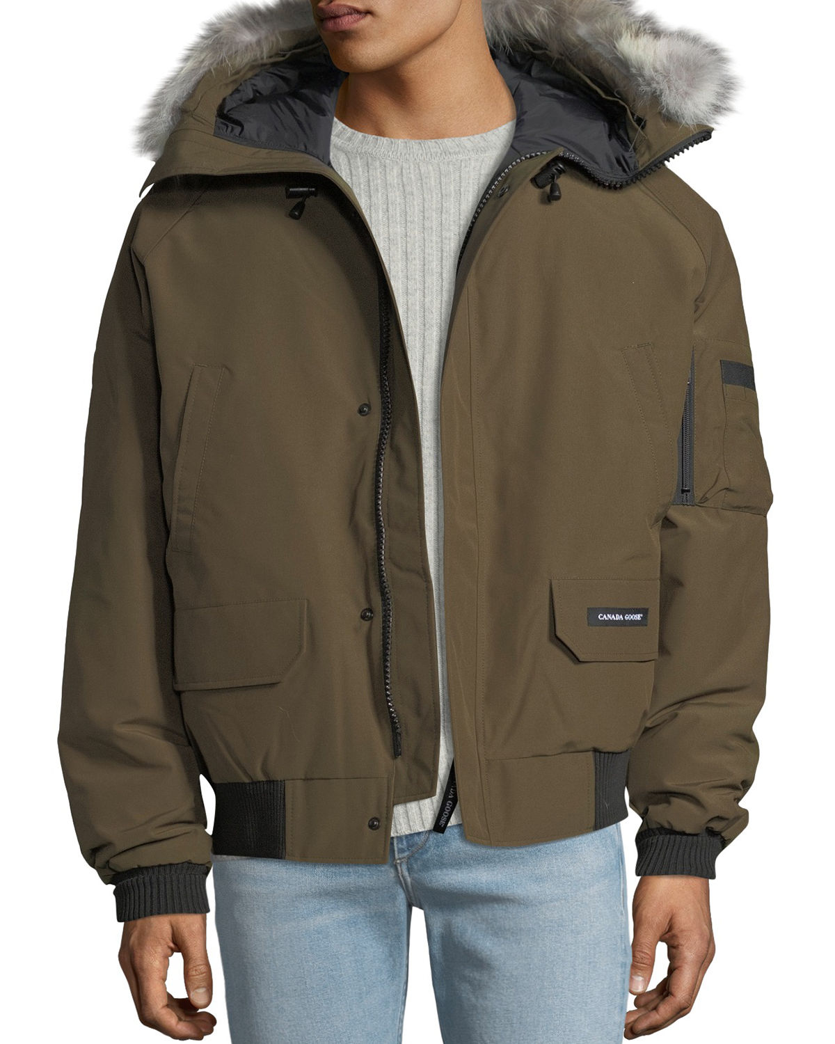 stylish design sports shoes factory price Men'S Chilliwack Down Bomber Jacket W/ Fur Hood in Olive