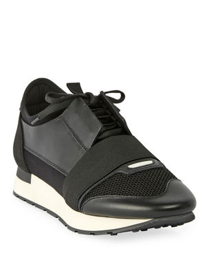 Balenciaga Men s Race Runner Mesh   Leather Sneakers 9f51e5c19