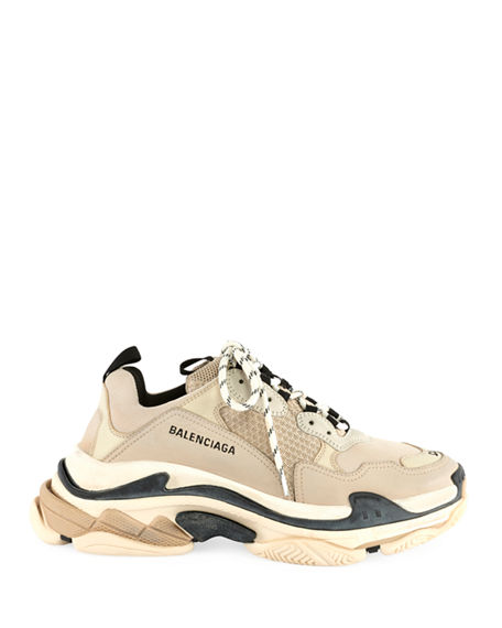 Image 2 of 3: Balenciaga Men's Triple S Mesh & Leather Sneakers