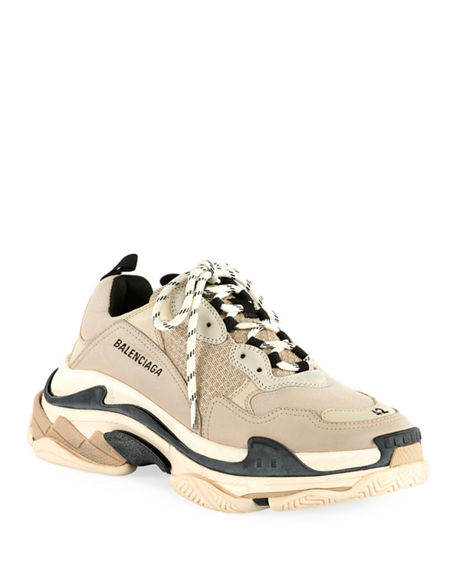 Image 1 of 3: Balenciaga Men's Triple S Mesh & Leather Sneakers