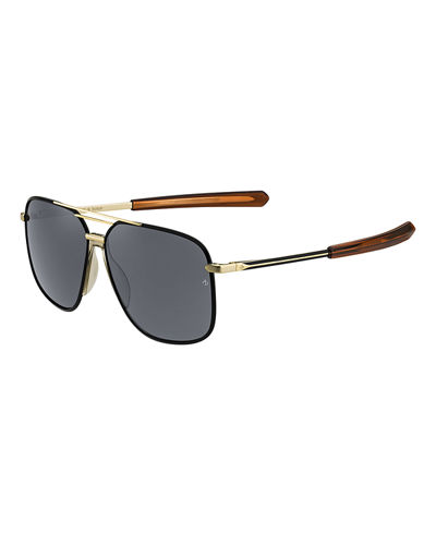Rag & Bone Men's Rounded Metal & Acetate Navigator Sunglasses
