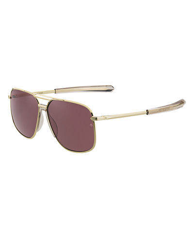 Men's Rounded Metal & Acetate Navigator Sunglasses