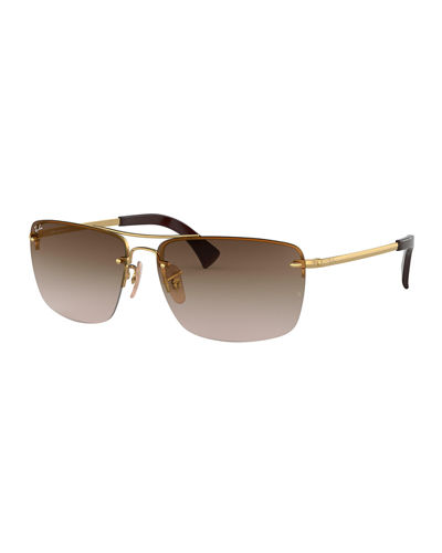 Men's Half-Rim Metal Sunglasses with Gradient Lenses