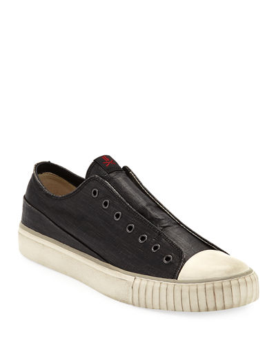 Men's Laceless Coated Canvas Low-Top Sneakers