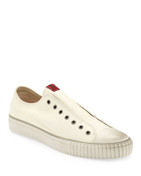 Image 1 of 4: John Varvatos Men's Laceless Leather Low-Top Sneakers