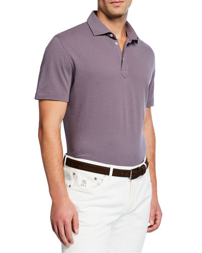 Men's Basic Spread-Collar Pique Polo Shirt