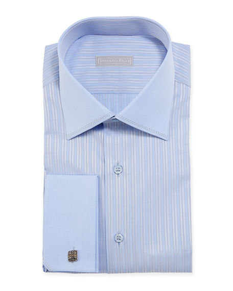 Stefano Ricci Men's Pinstriped Dress Shirt w/ Solid Trim
