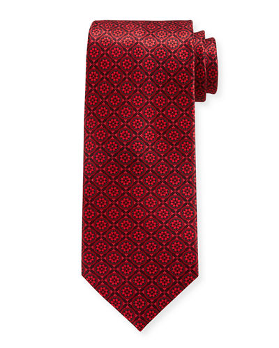 Luxe Large-Floral Medallion Silk Tie