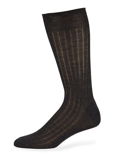 Neiman Marcus Men's Mid-Calf Cashmere Dress Socks